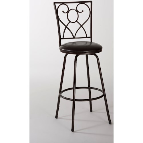 Hillsdale Metal Stools Bellesol Swivel Counter/ Bar Stool with Scroll Work