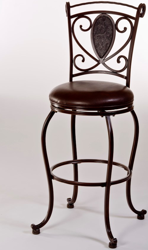 Hillsdale Metal Stools Scarton Swivel Counter Stool with Flur De Lies Back