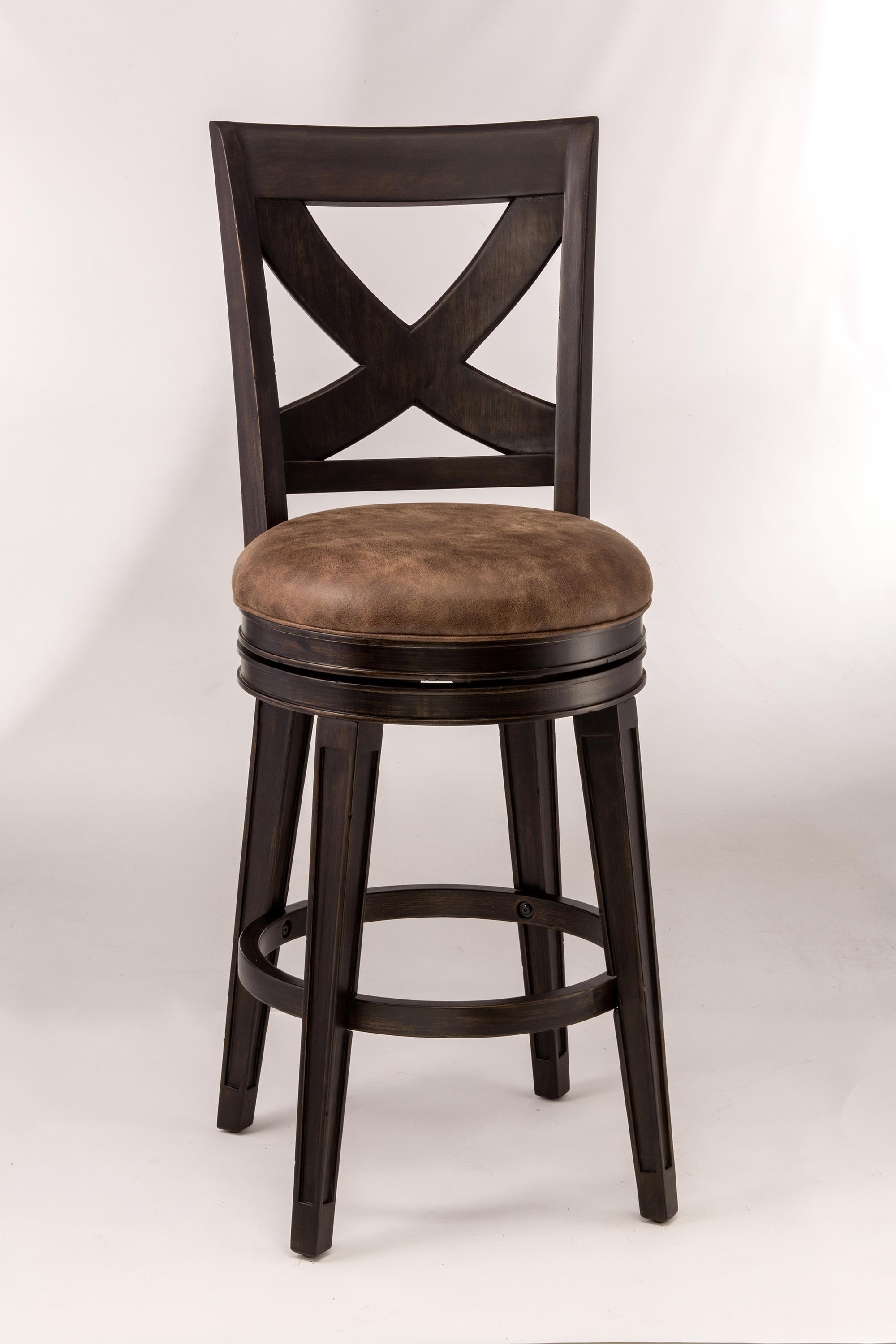 Hillsdale Metal Stools Rustic Swivel Counter Stool with X-Backrest - Godby Home Furnishings ...