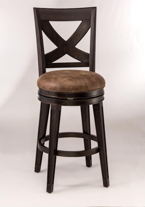 Hillsdale Metal Stools Rustic Swivel Counter Stool with X-Backrest