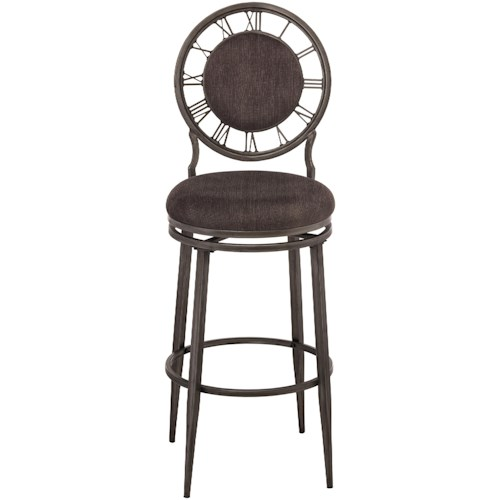 Hillsdale Metal Stools Swivel Counter Stool with Clock Backrest