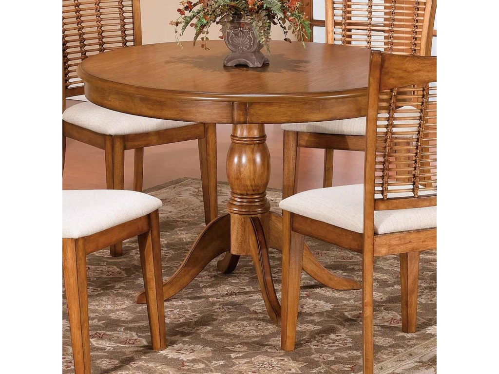 Hillsdale Bayberry And Glenmary Round Single Pedestal Dining - Single pedestal rectangular dining table