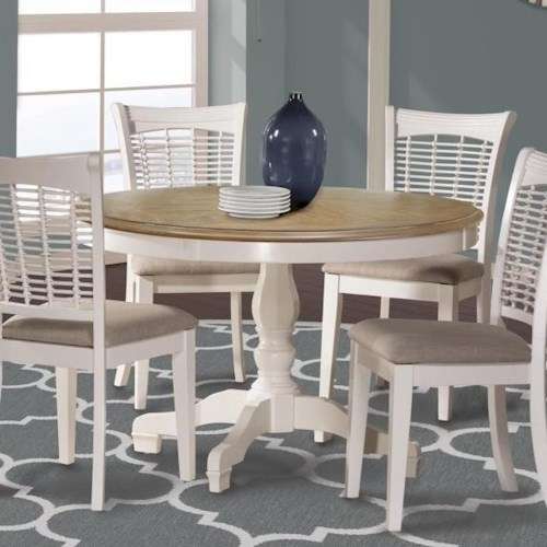 Hillsdale Bayberry White Two-Tone Round Table with Pedestal Base