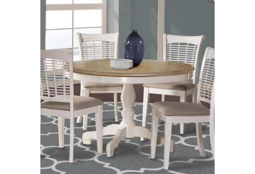Hillsdale Bayberry White Two Tone Round Table With Pedestal Base Wayside Furniture Kitchen Tables