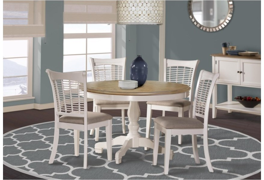 Hillsdale Bayberry White 5753dtb Two Tone Round Table With Pedestal Base Hudson S Furniture Kitchen Tables