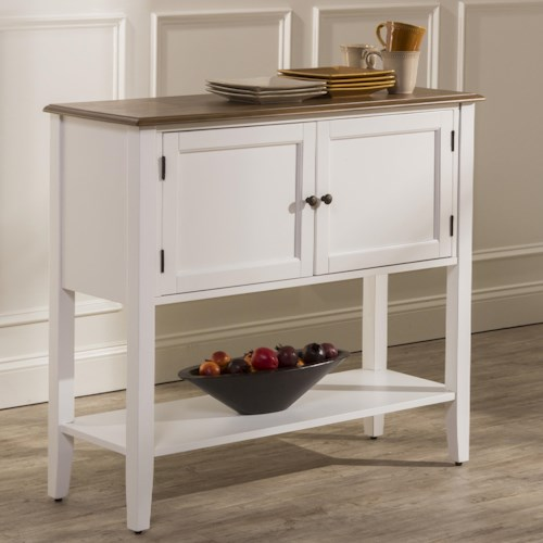 Hillsdale Bayberry White Two-Toned Dining Server with Display Shelf