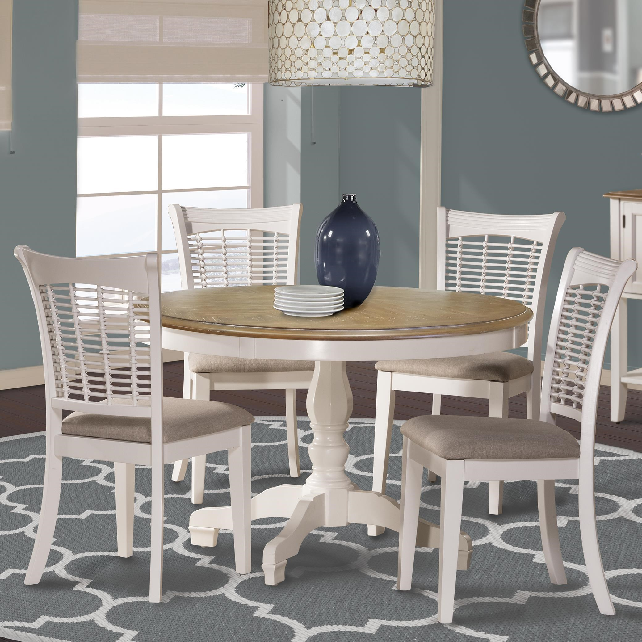 Delightful Hillsdale Bayberry White White Five Piece Dining Set