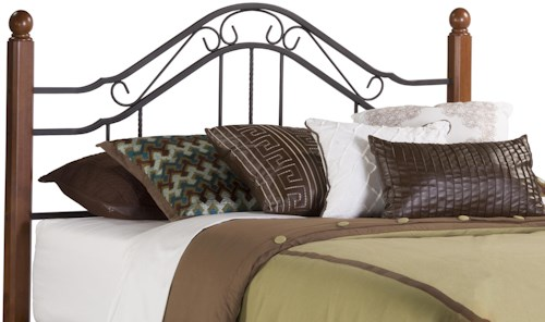 Hillsdale Metal Beds King Headboard with Wood Bed Posts and Rails