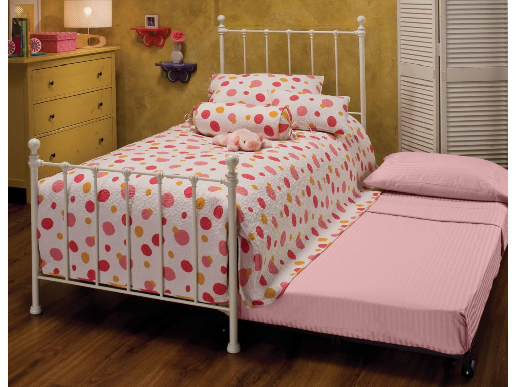 Morris Home Metal BedsTwin White Molly Bed with Underbed Trundle