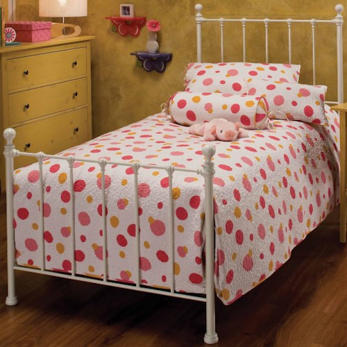 Hillsdale Metal Beds Twin White Molly Bed with Rails