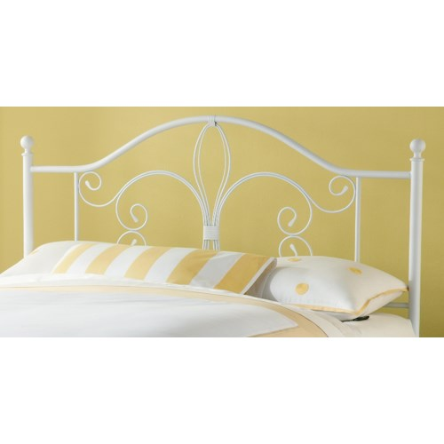 Hillsdale Metal Beds Ruby Full/ Queen Headboard with Fleur De Lis Accent