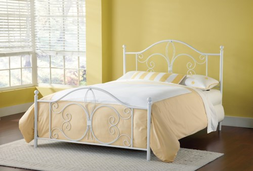 Hillsdale Metal Beds Ruby King Bed with Fleur De Lis Accent