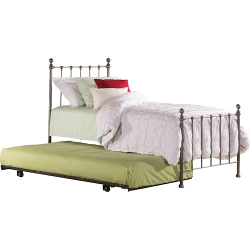 Hillsdale Metal Beds Twin Bed Set with Suspension Deck and Rollout Trundle Included