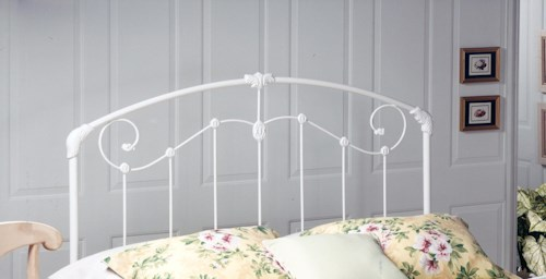 Hillsdale Metal Beds Maddie White Metal Twin Headboard with Rails