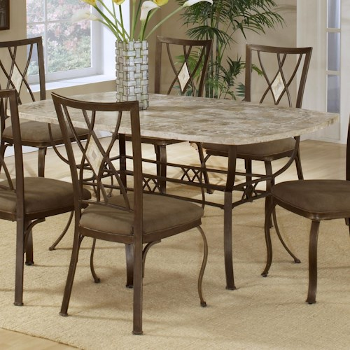 Hillsdale Brookside Rectangle Dining Table with Fossil Stone Top