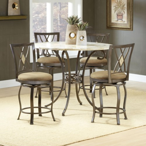 Hillsdale Brookside Five Piece Counter Height Dining Set With