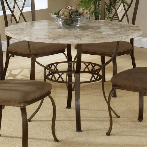 Hilale Brookside Round Dining Table With Fossil Stone Top
