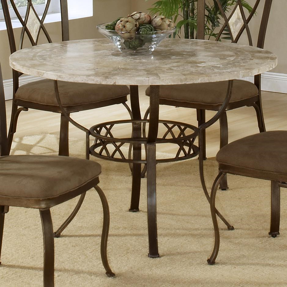 Amazing Hillsdale Brookside Round Dining Table With Fossil Stone Top
