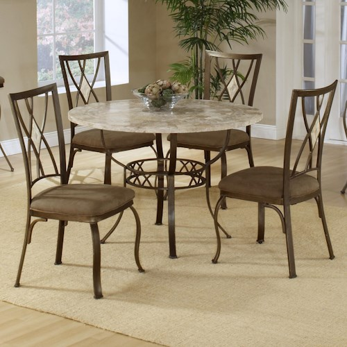 Hillsdale Brookside Five Piece Round Dining Set with Diamond Back Chairs