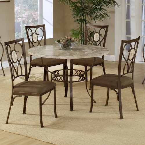 Hillsdale Brookside Five Piece Round Dining Set with Oval Back Chairs