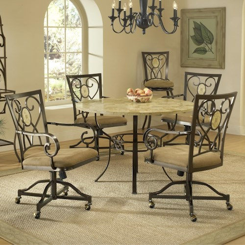 Hillsdale Brookside Five Piece Round Dining Set with Caster Chairs