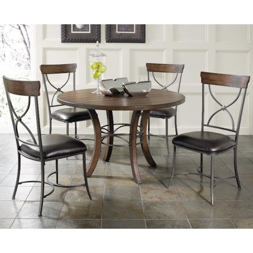 Hillsdale Cameron 5 Piece Metal Ring Dining Set with X-Back Chairs