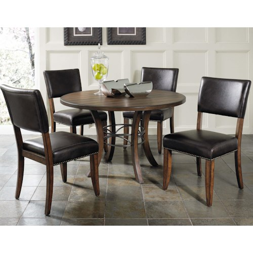 Hillsdale Cameron 5 Piece Metal Ring Dining Set with Parson Chairs