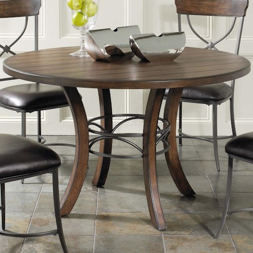 Hillsdale Cameron Round Wood Dining Table with Metal Acent Base
