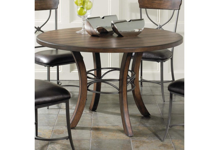 Hillsdale Cameron Round Wood Dining Table With Metal Acent Base Lindy S Furniture Company Kitchen Tables