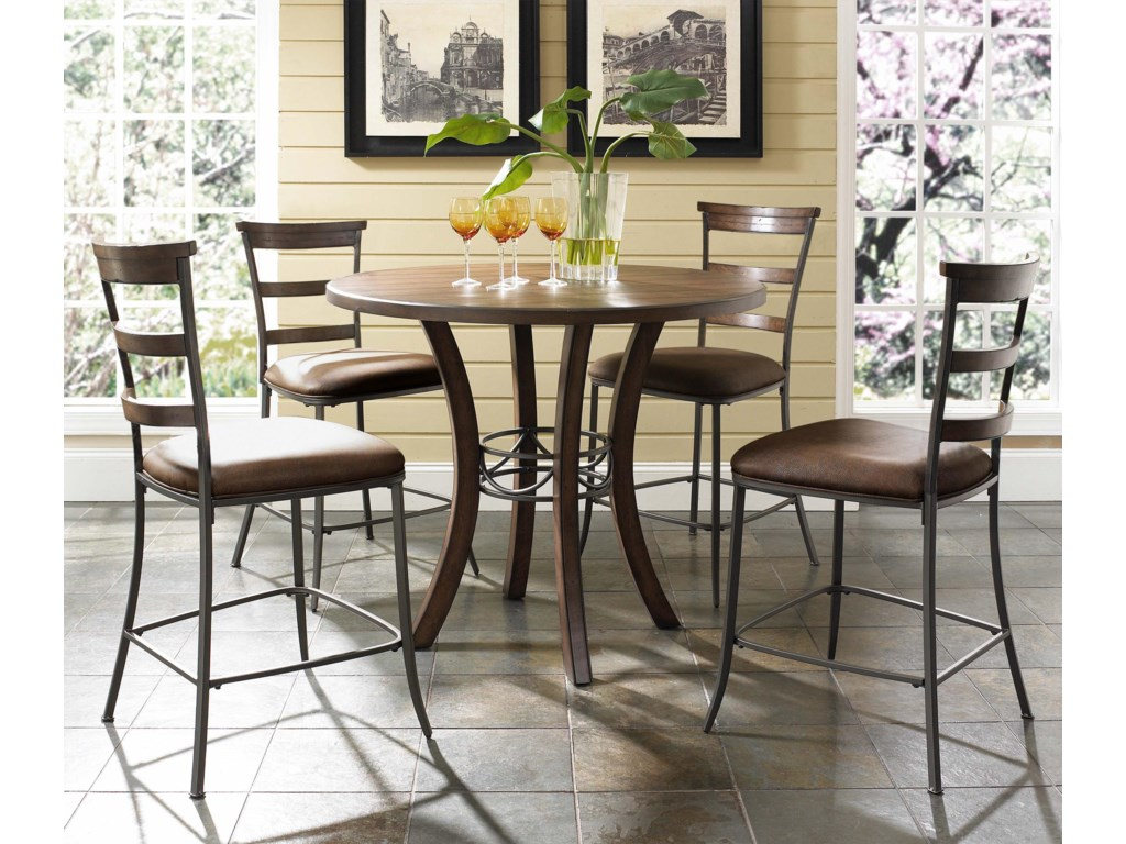 Cameron 5 Piece Round Counter Height Table Ladder Back Stools Set