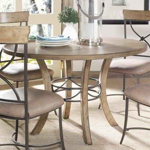 Hillsdale Charleston Round Wood Table w/ Metal Pedestal Ring
