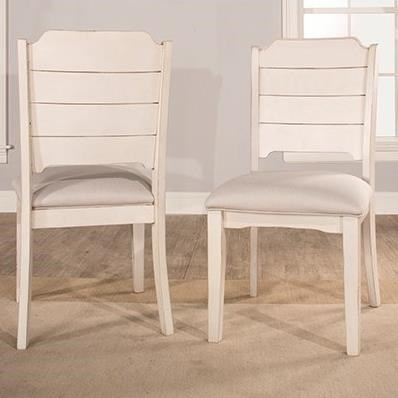 Set of 2 Farmhouse Dining Chairs with Upholstered Seat