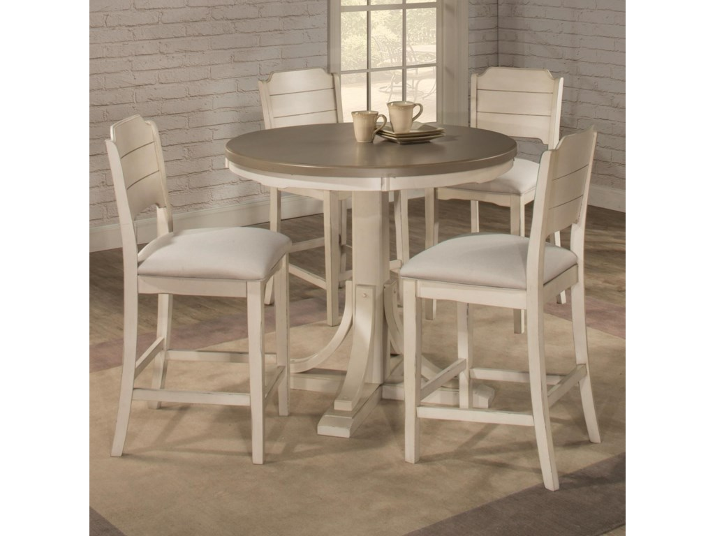 Hillsdale Clarion 5 Piece Counter Height Dining Set With Round Table Wayside Furniture Pub Table And Stool Sets