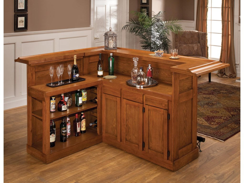 Classic Large Oak Bar with Side Bar | Morris Home | Bars