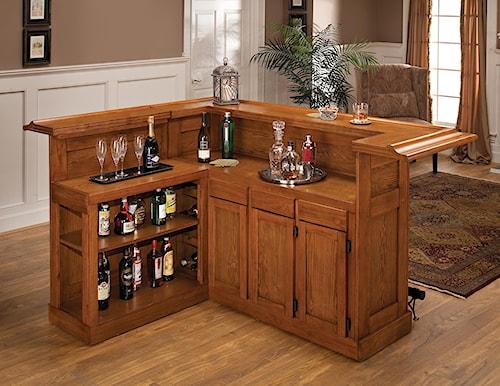 Hillsdale Classic Oak 625 Large Oak Bar with Side Bar