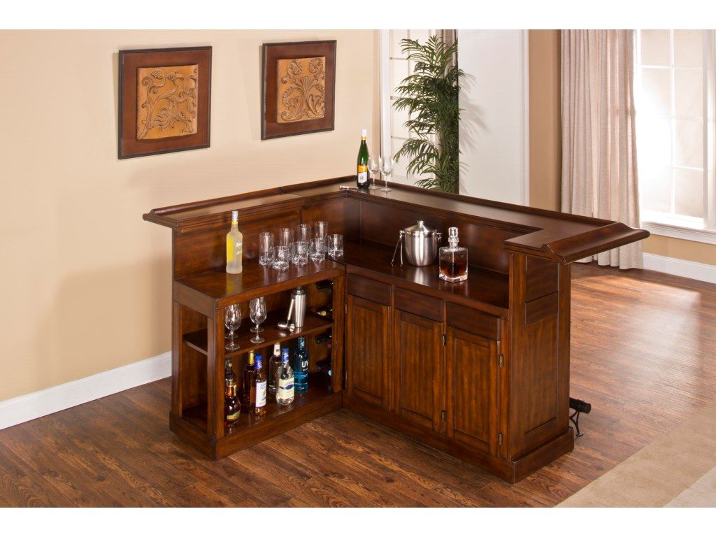 Hillsdale ClassicLarge Brown Cherry Bar with Side Bar