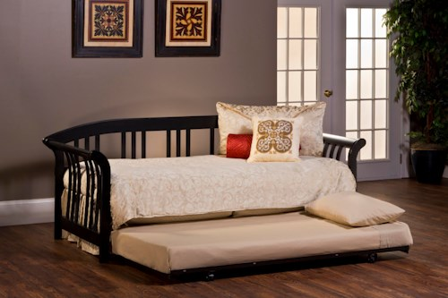 Hillsdale Daybeds Dorchester Black Daybed with Suspension Deck and Trundle Bed in a Sleigh Design