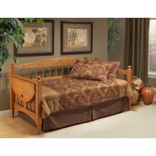 Hillsdale Daybeds Wooden Daybed with Trundle and Drop Leaf Side Table