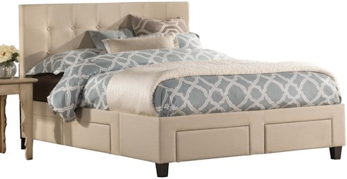 Hillsdale Duggan Upholstered Queen 6 Drawer Storage Bed