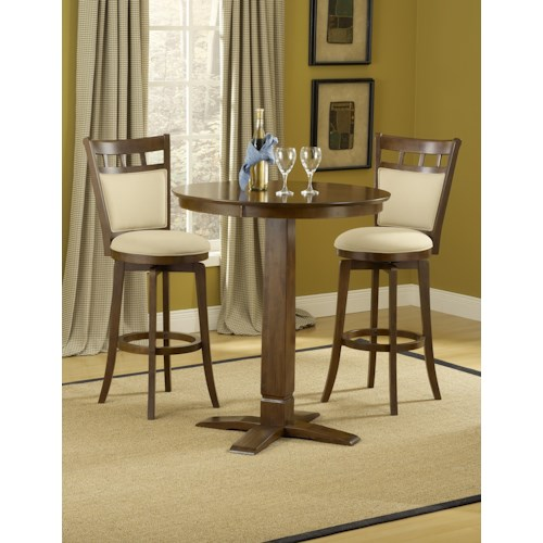 Hillsdale Dynamic Designs 3-Piece Bar Table and Ivory Upholstered Stool w/ Brown Cherry Finish Set
