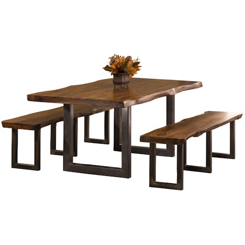 Hillsdale Emerson  3-Piece Rectangle Dining Set with Two Benches