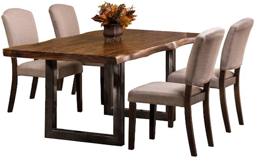 Hillsdale Emerson  5-Piece Rectangle Dining Set with Natural Sheesham Wood