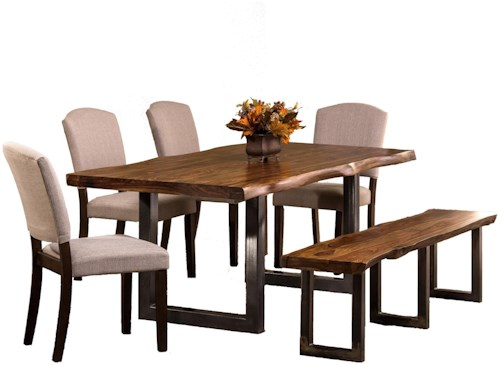 Hillsdale Emerson  6-Piece Rectangle Dining Set with Dining Bench and Chairs