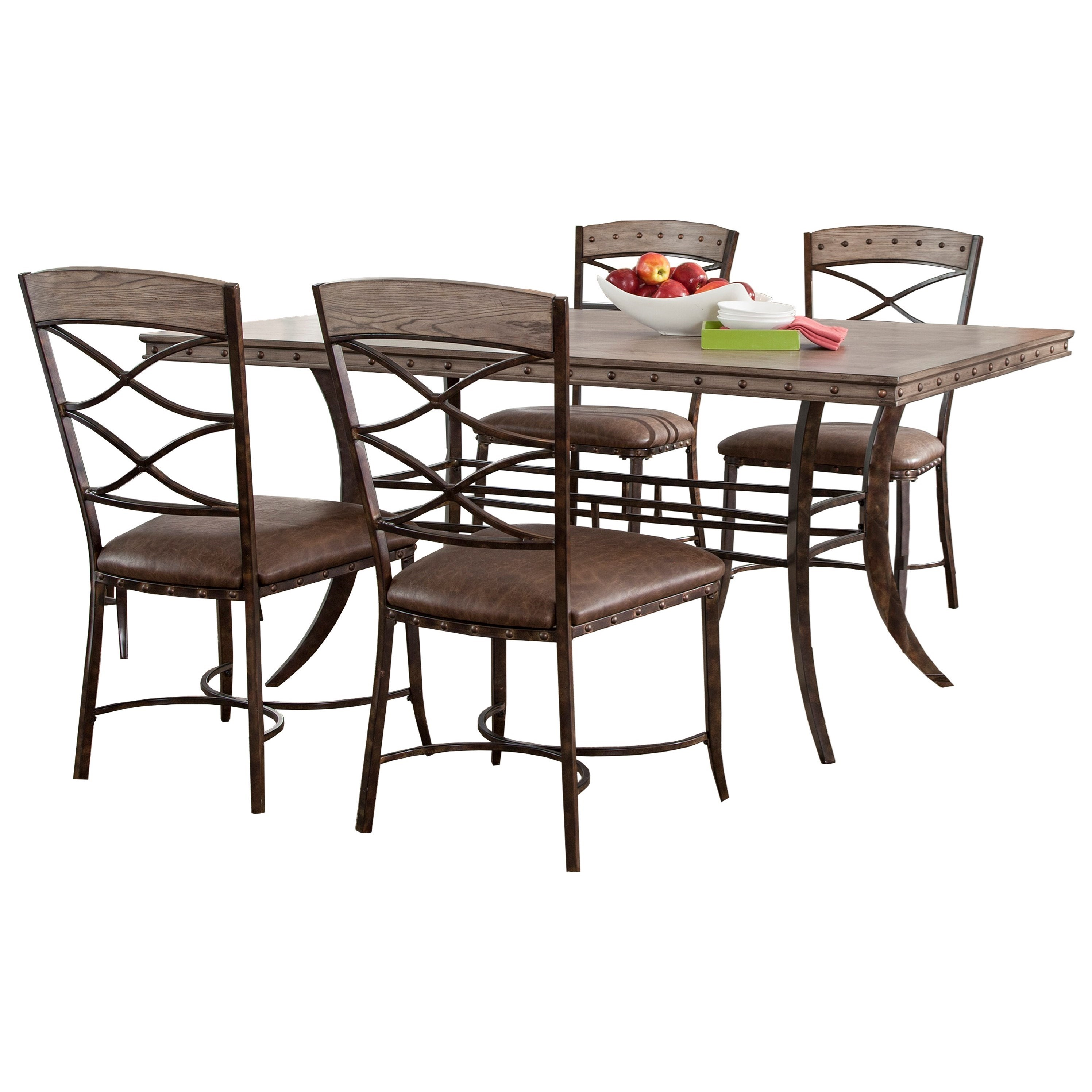 Hillsdale Emmons 5 Piece Rectangle Dining Set With Stud Details