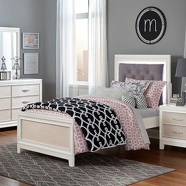 Hillsdale Evelyn Full Bed with Upholstered Headboard and LED Backlight