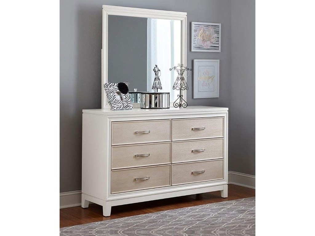 Evelyn 6 Drawer Dresser Mirror Combo