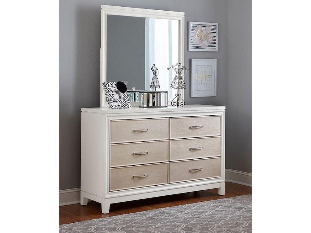 Hillsdale Evelyn6 Drawer Dresser Mirror Combo