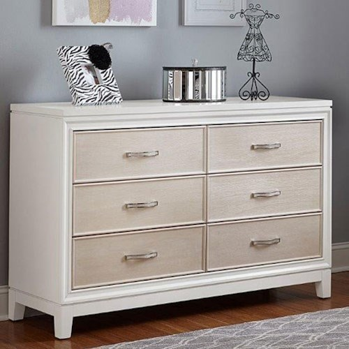 Hillsdale Evelyn 6 Drawer Dresser with Crystal Embellished Drawer Pulls