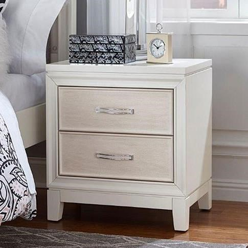 Hillsdale Evelyn Two Drawer Nightstand with Chrystal Embellished Drawer Pulls