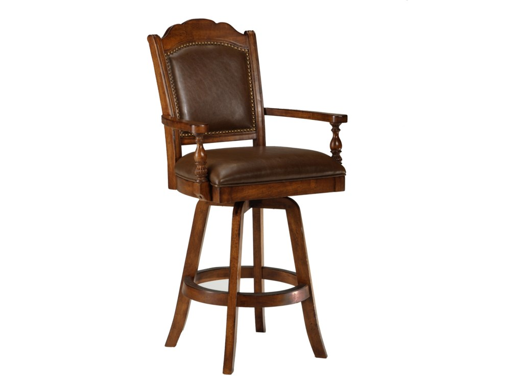 Hillsdale Game Stools & ChairsNaussa Swivel Leather Game Bar Stool